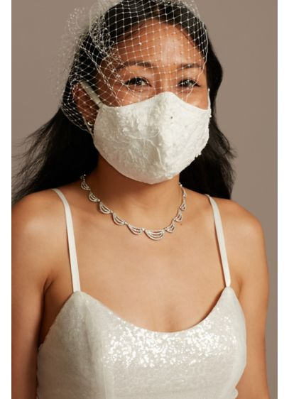 Beaded Lace and Satin Adjustable Loop Face Mask - Embellished with a luxe beaded lace appliques, this